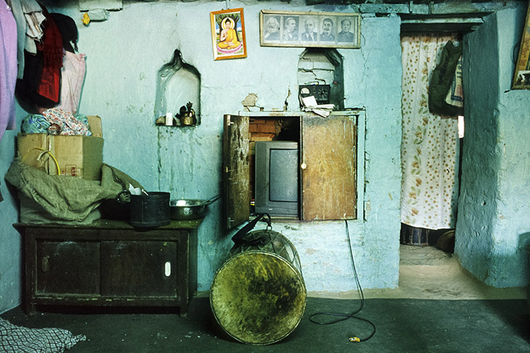 Indira Lacchimasyu'sdhymia, a ritual drum that she was the first woman to be allowed to play, at her parents' home, Bhaktapur, April 2008