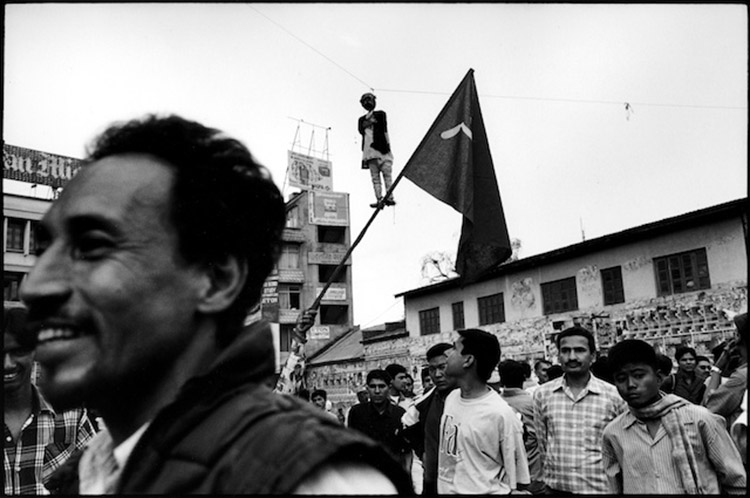 Demonstrators in Kathmandu hang an effigy of the then Nepali Prime Minister Koirala, embroiled in corruption allegations Nepal. 2001.
