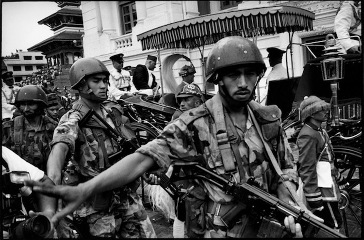 The newly crowned King Gyanendra leaves Durba square under a military escort for the royal palace following the massacre of King Birendra and other members of the royal family. kathmandu, Nepal. June 4th 2001