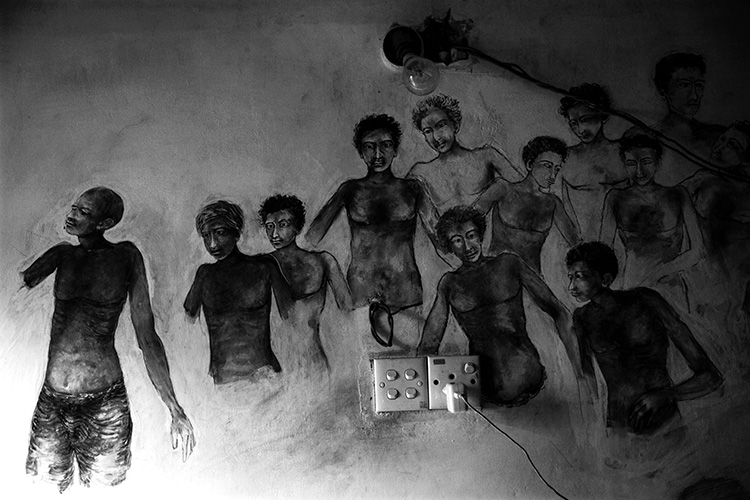 Surreal Sketches seen inside a Tamil house depicting the pain of the community which suffered for 3 decades.
