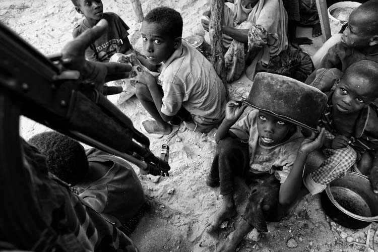 Somalian children waiting to get food from WFP (World Food Program), Mogadishu, Somalia